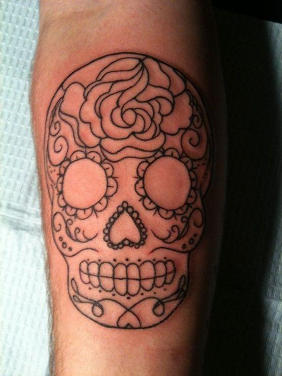 sugar skull tattoo - Click image to find more tattoos Pinterest pins
