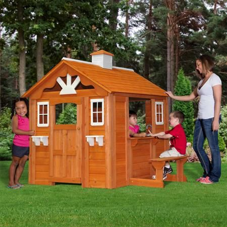 Backyard discovery summer cottage wooden cedar playhouse for Cheap outdoor playhouses