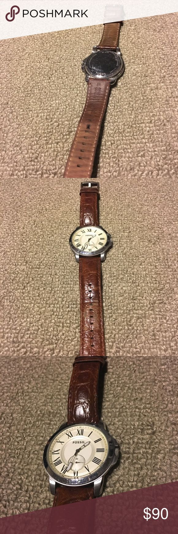 """Fossil Chronograph Watch """"Alligator"""" style leather Fossil Chronograph watch w/ """"alligator"""" print brown leather band. All stainless steel. Great watch. Can be casual or dressy. Amazing condition. Some scratches on the back, but you never see that! 5 ATM Fossil Accessories Watches"""