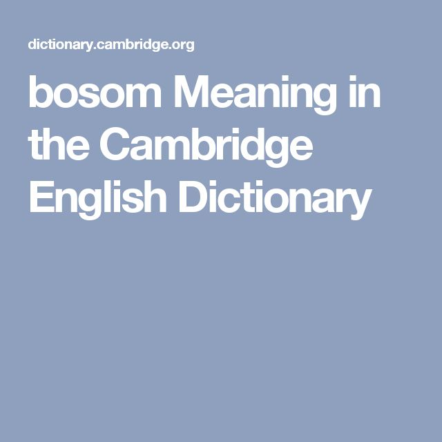bosom Meaning in the Cambridge English Dictionary