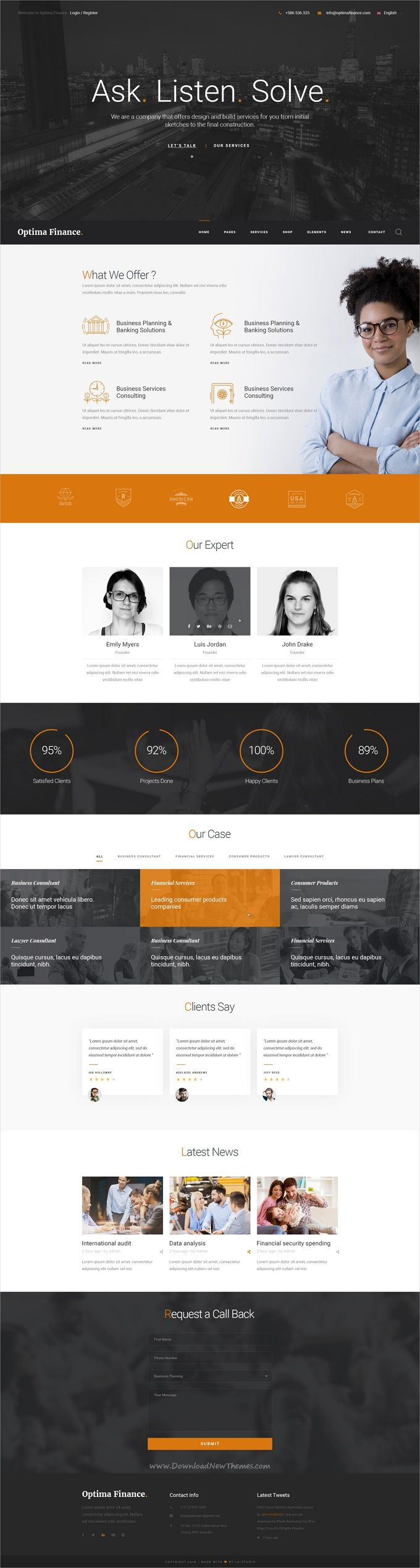 Optima is a multipurpose #PSD template for creative #finance websites with 22+ multipurpose homepage layouts, 19+ portfolio style, 12 blog style and 78 organized PSD pages download now➩  https://themeforest.net/item/optima-multipurpose-psd-template/19407294?ref=Datasata