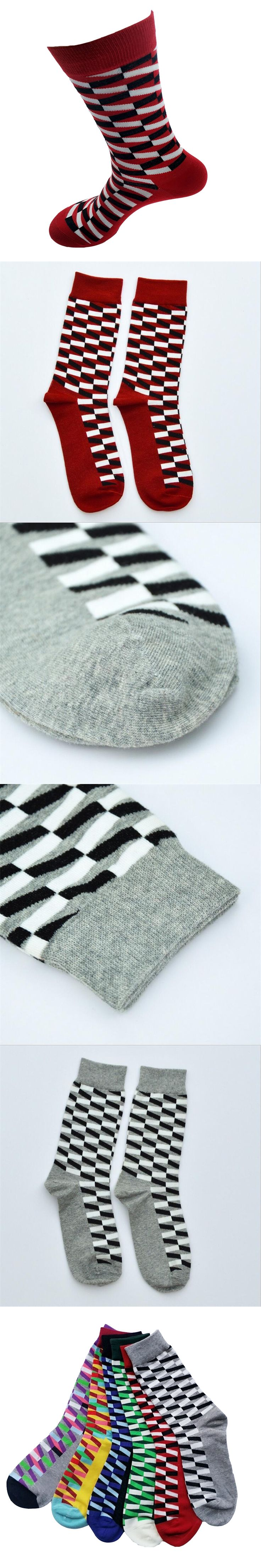 High quality socks men funny Comfortable Breathable male and men's colorful striped long happy socks men's dress sock