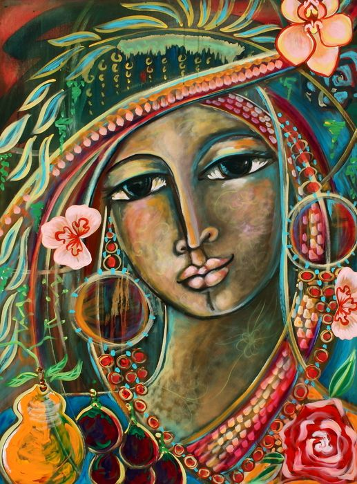 What I like about this painting is that it has colors that I associate with some of the Caribbean and more latin areas. The other thing I absolutely love is the design of it- absolutely gorgeous to me. I love the teal, the reds, the peachy color, greens