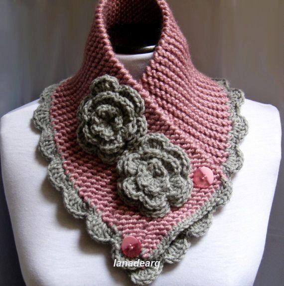 Pink Scarf Neck Warmer Grey Scarf   6 1/2 x 29 inches. $35.00 etsy