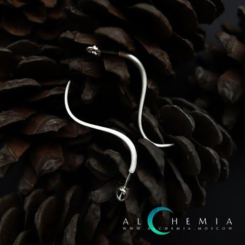 The Hair earrings, silver. Handmade by Alchemia Jewellery.