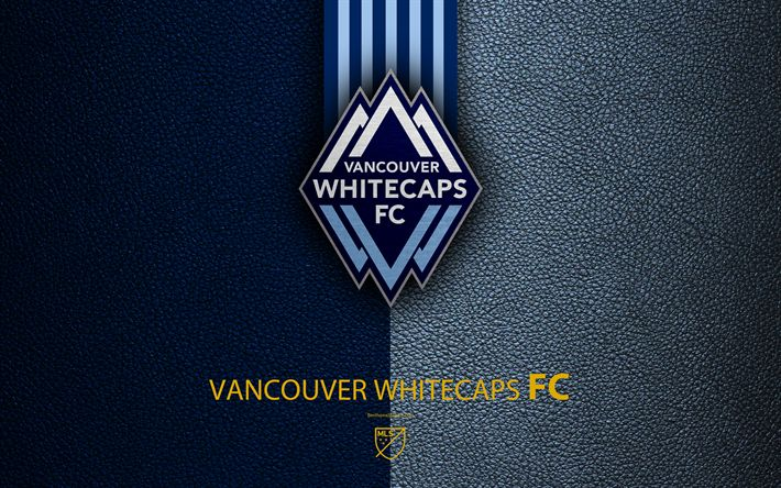 Download wallpapers Vancouver Whitecaps FC, 4k, Canadian soccer club, MLS, leather texture, logo, emblem, Major League Soccer, Vancouver, Canada, football, MLS logo