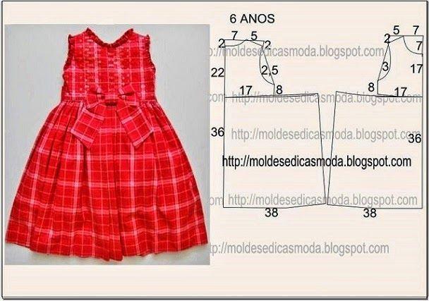 ARTESANATO COM QUIANE - Paps,Moldes,E.V.A,Feltro,Costuras,Fofuchas 3D: Molde Vestido de criança Vermelho com laço
