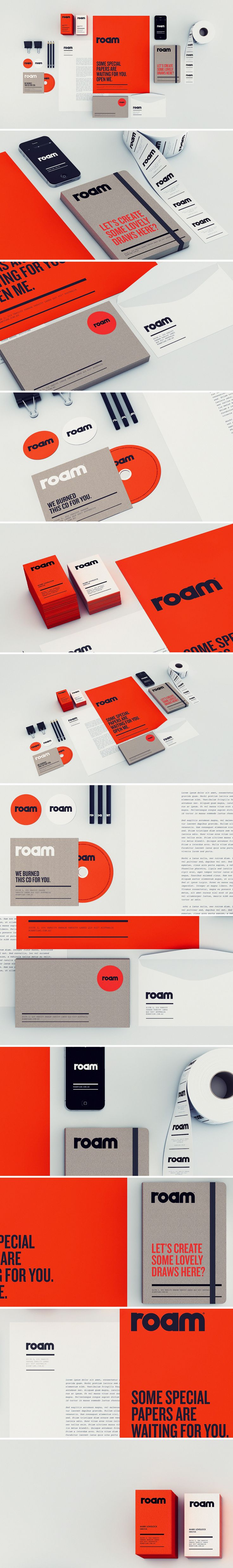 Roam identity minimal and bold color palette is effective, interesting type treatment as well.