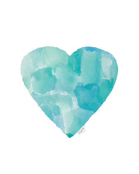 Aqua Blue Ocean Art Watercolor Heart Art by OutsideInArtStudio, $18.00