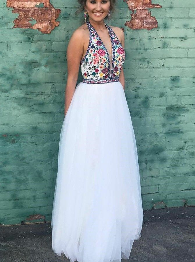 877d27a136bf Two Piece High Neck Floor-Length White Prom Dress with Embroidery , for  $164.99 only