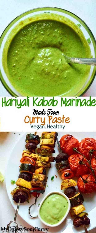 Veggie hariyali kabab marinade from curry paste, #vegan #healthy