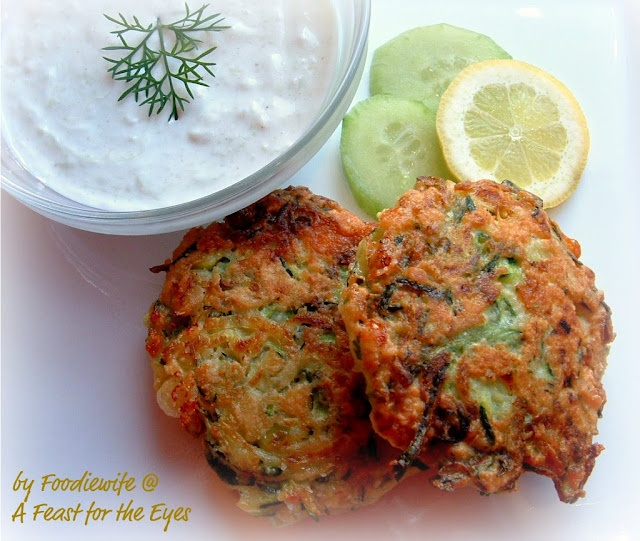Zucchini Fritters with Tzatziki...something else to make with our usual mass quantities of summer zucchini.