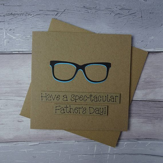 Funny Fathers Day card (Punnny card). This Spectacles card for Dad has a pair of trendy spectacles, perfect for anyone who wears glasses, spectacles or reading glasses. This Fathers Day card with glasses has a pair of black spectacles with a highlight colour that you can select from the drop-down menu. The sentiment on this Pun card is added with 3D foam and reads: Have a Spec-tacular Fathers Day! But could also be: Have a Spec-tacular Birthday [Name] or any of the other messages in the…