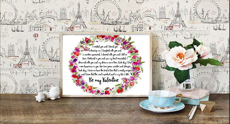 Valentines day Message - Be my Valentine Digital Print INSTANT download 300 dpi A4 by DecorNurseryPrints on Etsy