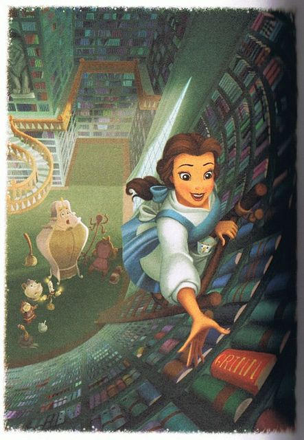 Belle and her library. I wish I had one like it!!