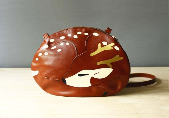 Deer Bag Cute Brown Leather Bag by krukrustudio on Etsy, $99.00