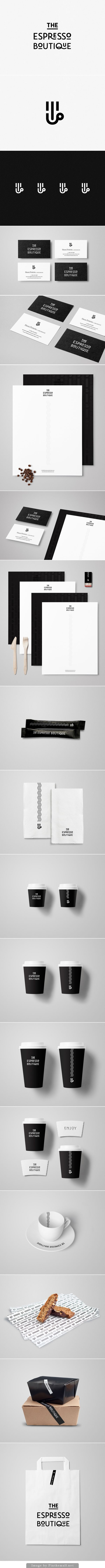 Branding stationary corporate identity business card letterhead cup bag packaging napkins logo type minimal black and white graphic design espresso coffee