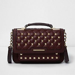 Quilted Studded Mini Satchel Bag from River Island R560,00