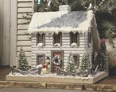 White Colonial Lighted Christmas Mica Glitter Putz House