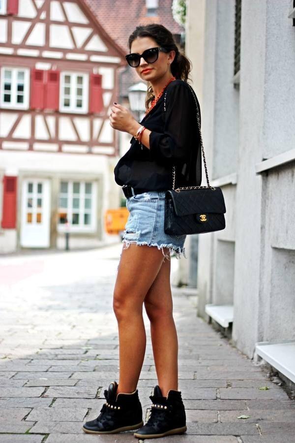 Zara Black Studded Wedge Sneakers  # #Fashion Hippie Loves #Fashion Summer Trends