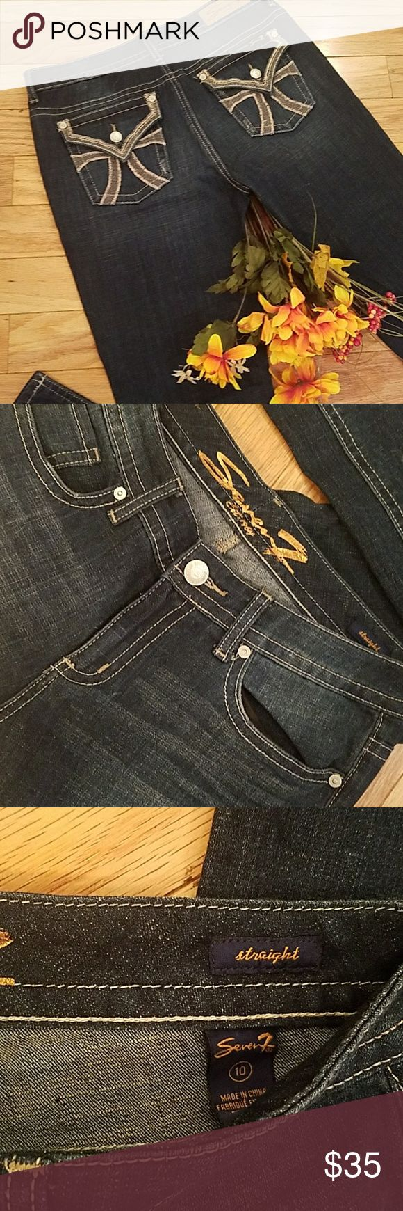 """Seven 7 straight cut jeans Brand new just took tags off! Medium blue straight cut jeans with embellished back pockets! Inseam is 33"""" Jeans Straight Leg"""