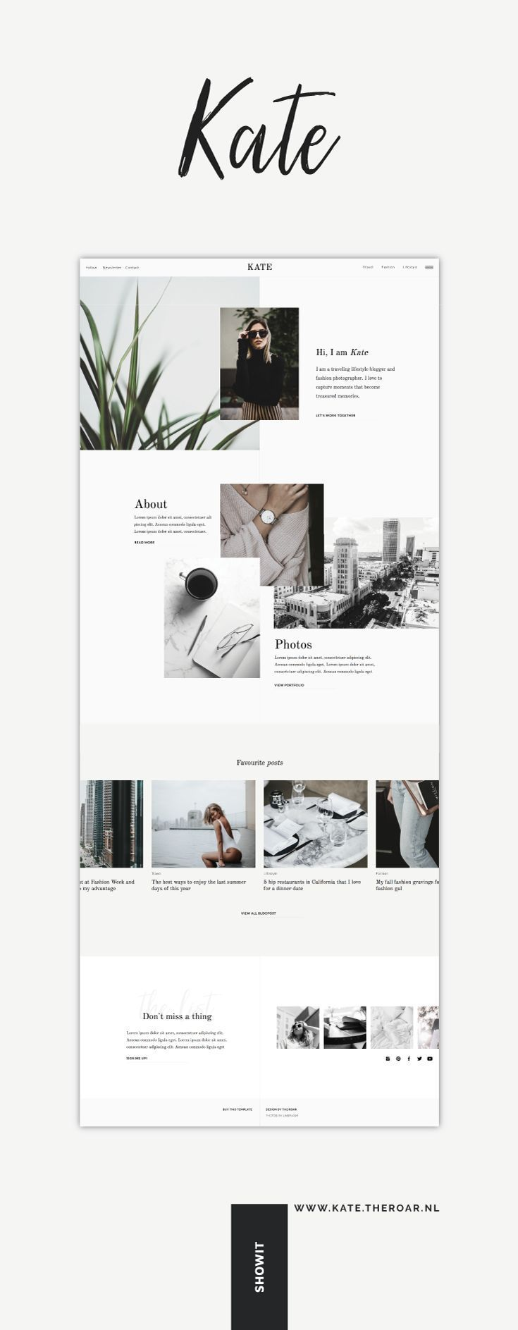 One-of-a-kind Showit template Kate voor een assertion web site met 100% creatieve…