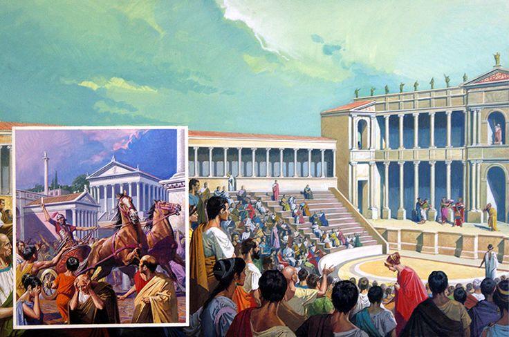 Ancient Roman Theatre (Original) art by Severino Baraldi