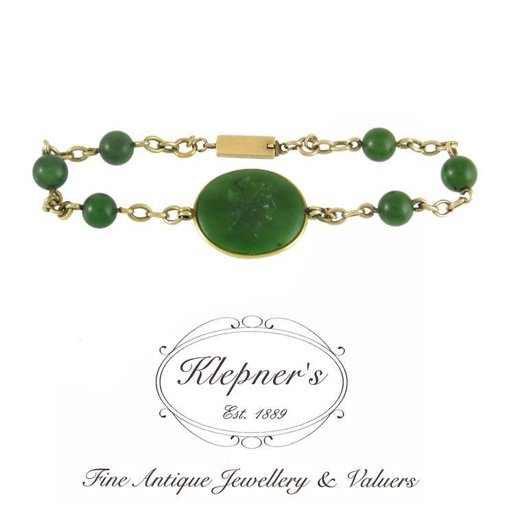 9ct rose gold vintage nephrite jade carved intaglio bracelet. Visit us at www.klepners.com.au