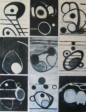 B/W  Enamel on paper, 1995  1950mm x 1530mm