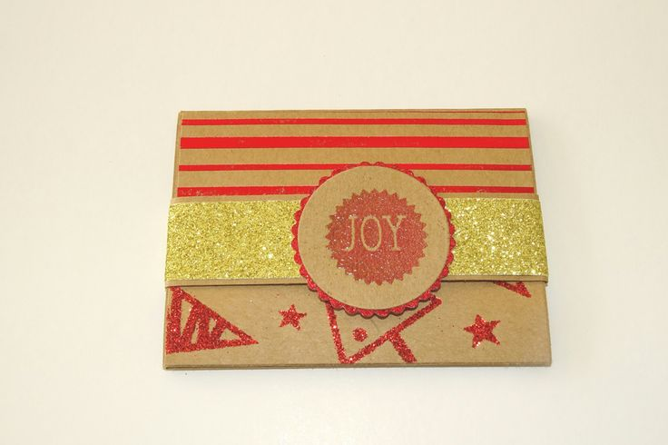 Red and gold kraft paper christmas gift card holder with note card and envelope, Christmas tree money envelope, Xmas star money holder by prettypapernz on Etsy