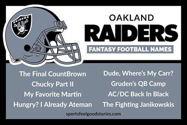 Raiders Fantasy Football Names Sports Feel Good Stories Fantasy Football Names Football Names Fantasy Football