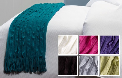 Charlotte throw  - Every home, car or wordrobe should have one of these!!! Fantastic to keep on the couch or bed for looks. Keep in the car for when you go out and forget a cardi to keep warm, or wear as a shawl. Just beautiful and so many colours and uses!!