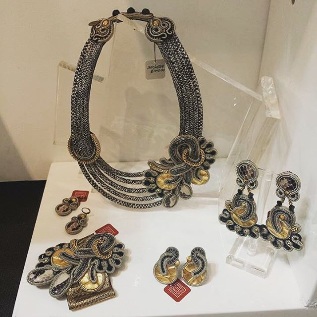 Dori's new snakeskin collection at the Ny Now show. #doricsengeri #earrings #necklace #bracelet #nynow #accessories #jewelry #design #handmade #fashion #snakeskin #python