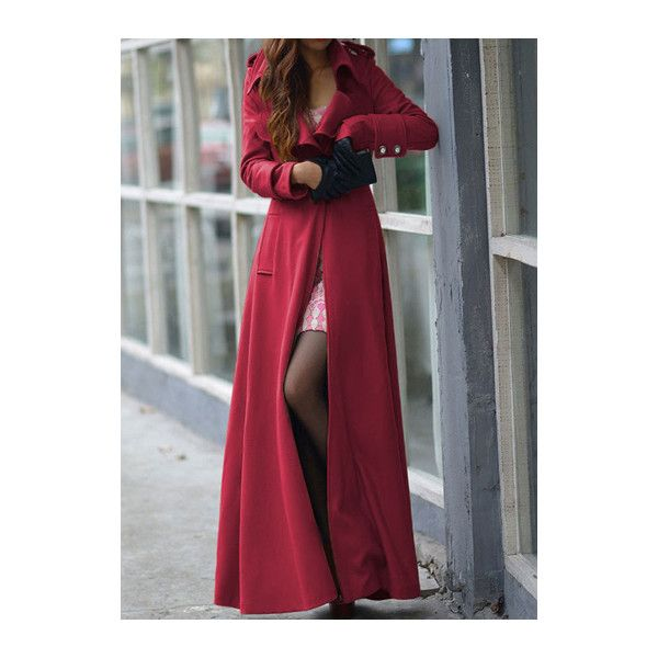 Turndown Collar Long Sleeve Button Closure Coat found on Polyvore featuring polyvore, women's fashion, clothing, outerwear, coats, wine red, collar coat, patterned coat, patterned wool coat and print coat