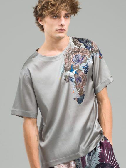 deeabdbb Men's grey print placement stretchy silk satin t-shirt in 2019 ...