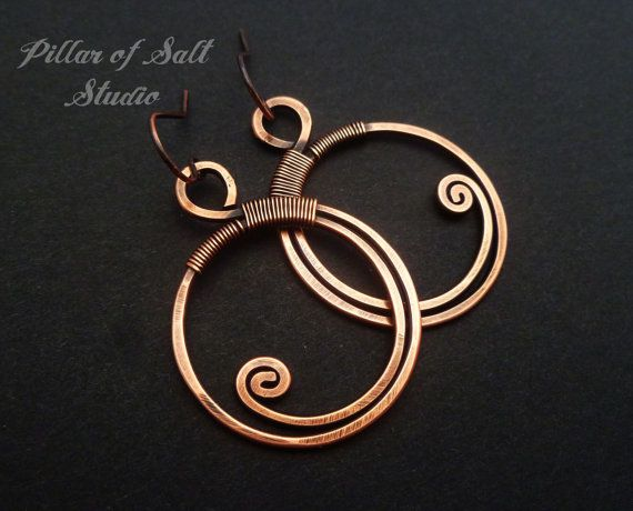 Wire wrapped earrings / Solid copper by PillarOfSaltStudio on Etsy