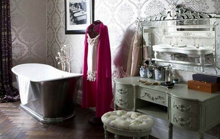 Exciting Traditional Bathroom Ideas With Classic Bathtub And Vanities For Bathroom With Chevron Wood Floor Interior Design Furniture Represents Your Personality Furniture