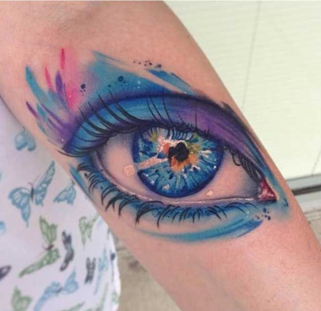 Spectacular Watercolor Eye Tattoo