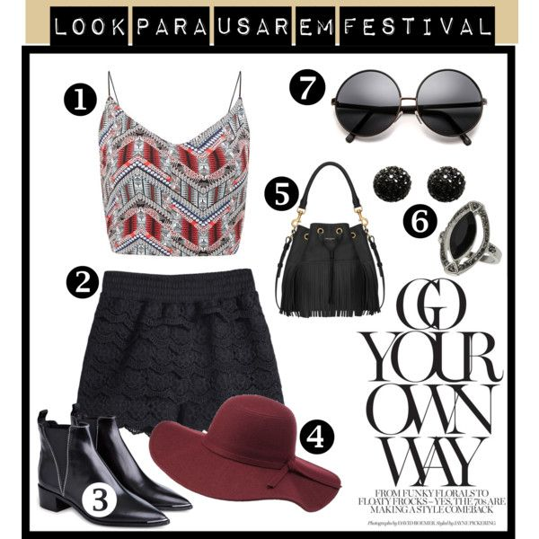 look para usar em festival by anna-carolina-sales on Polyvore featuring moda, Acne Studios, Yves Saint Laurent, Topshop, Kenneth Jay Lane and Charlotte Russe