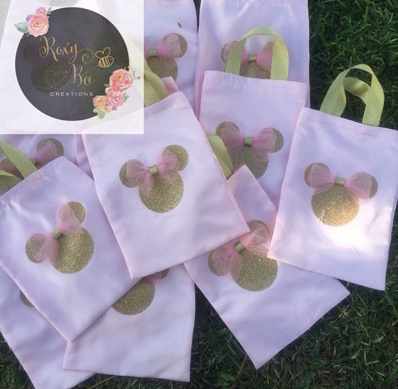 Minnie mouse pink and gold goody bags by RoxyBeeCreations on Etsy