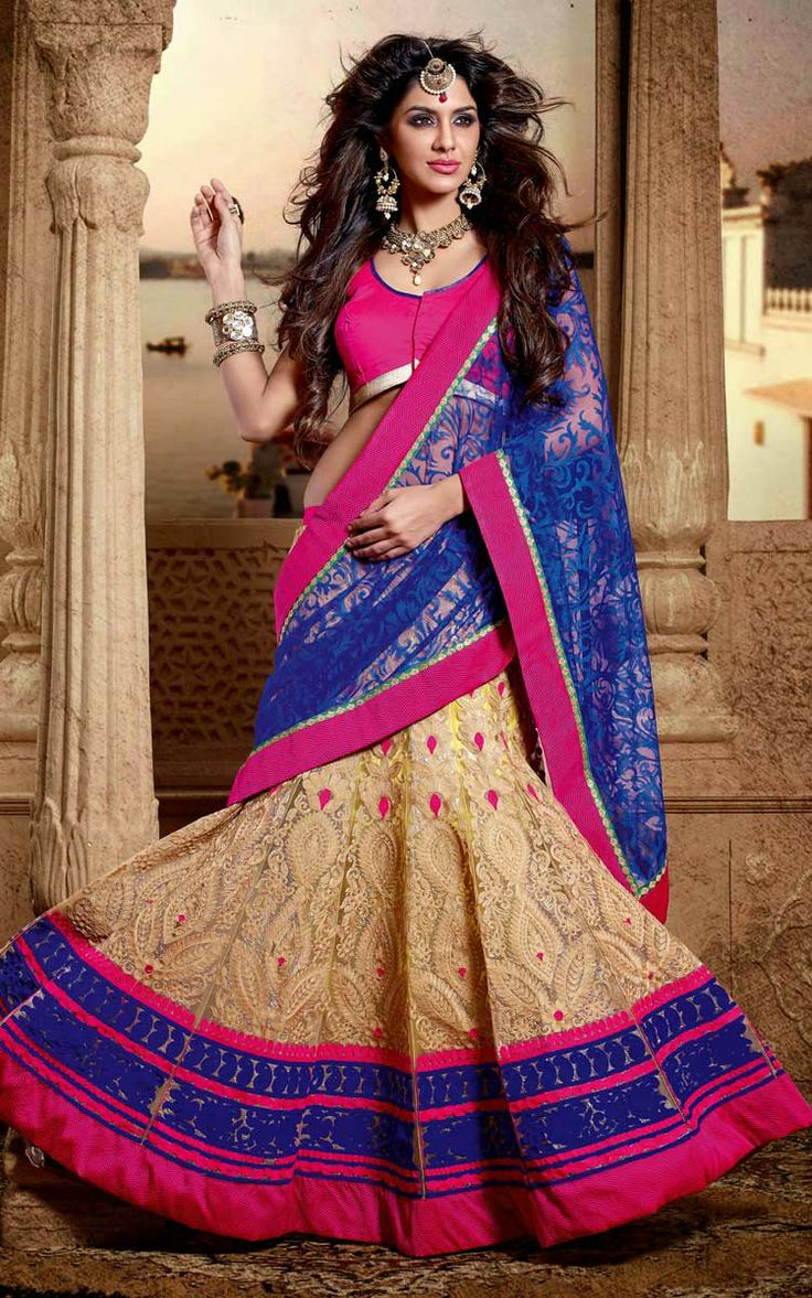 BLUE, BEIGE & PINK NET EMBROIDERED SAREE - DIFF 28343
