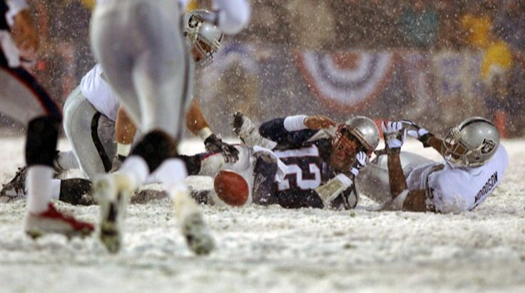 AFC Divisional playoff in New Englandvs. Raiders. The game aka 'Tuck Rule Game'; aka Snow Bowl played 19, January 2002.  AAArrrrgggghhhhhh