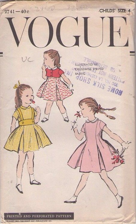 MOMSPatterns #Vintage Sewing Patterns - Vogue 2741 Vintage 40's #Sewing #Pattern CHARMING Toddler Girls Inverted Pleats Suspender 'Halter' Skirt, Flared Party Dress, Tiny Bolero Jacket Cover Up