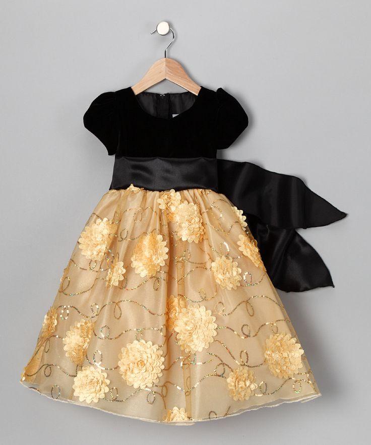 Kid Fashion Black & Gold Velvet Flower Dress Toddler