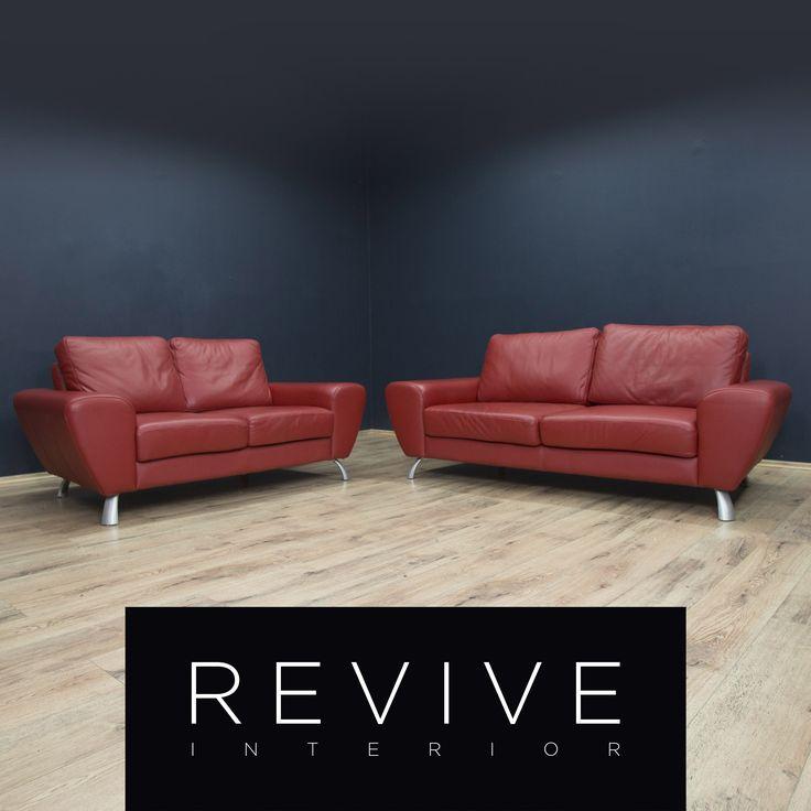 Designer Leder Sofa Garnitur Rot Dreisitzer Zweisitzer Echtleder Couch Modern #1815 #1816 | Revive Interior