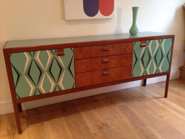 One of our favourite upcycled sideboards from the studio of @JesssicalHoffman. The pattern used to decoupage the front of the cupboards is perfect for the design era of this piece. Presented during #UpcycledHour 8-9pm Tuesday on Twitter.