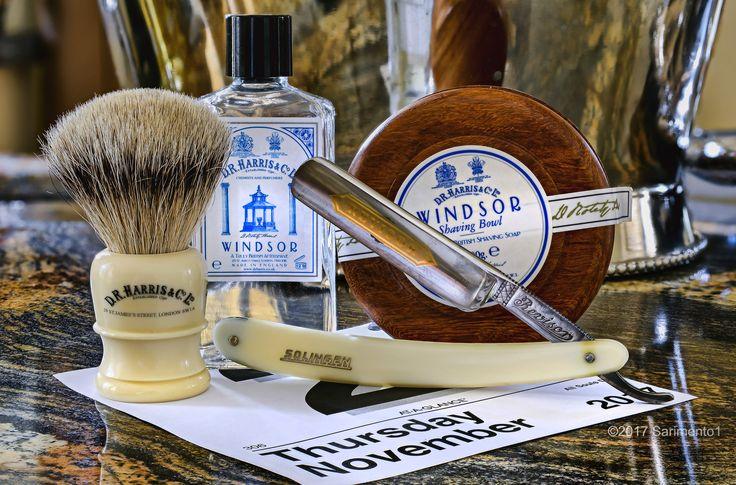 "D.R. Harris Windsor shave soap and cologne, DR Harris branded badger brush, Revisor 5/8"" straight razor, November 2, 2017.  ©Sarimento1"