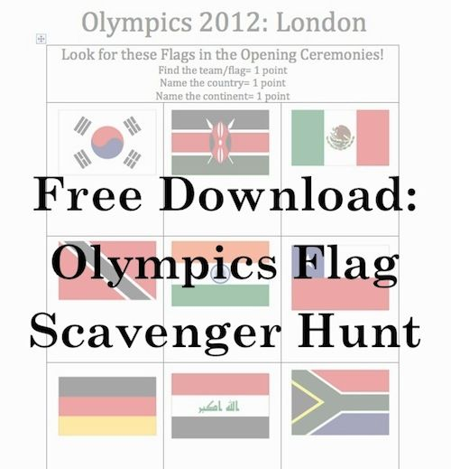 Flag Scavenger Hunt during the Olympics Opening Ceremonies!!! 1 pt for finding the flag/team, 1 point for naming the country, and 1 point for naming the continent:). Share your score at facebook.com/kidworldcitizen and we'll announce the winners!