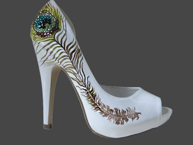 Crystal Peacock Feather Heels