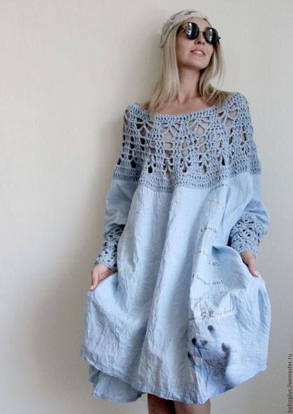 Denim & crochet dress. Too loose and flowy for me, but I like the idea.
